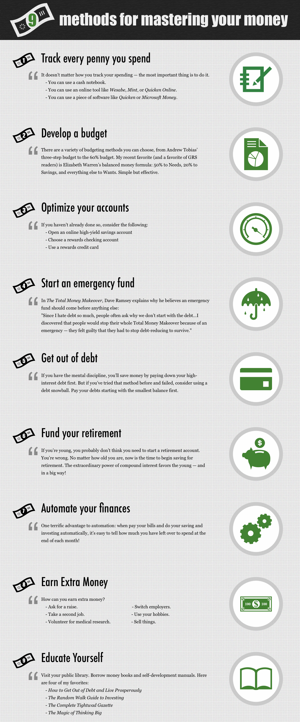 9 methods for mastering your money